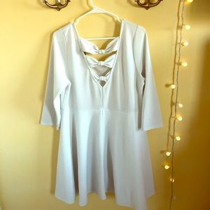 Forever 21 Plus white fit and flare bow dress 3X